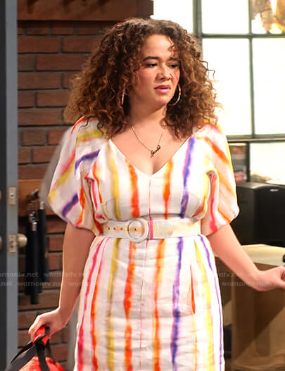 Jade's rainbow stripe v-neck dress on Family Reunion
