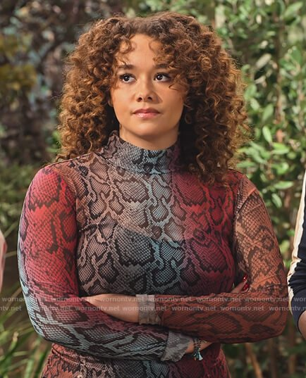 Jade's snake skin ombre top on Family Reunion