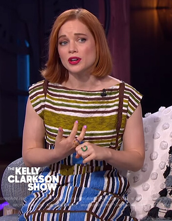 Jane Levy's green stripe belted dress on The Kelly Clarkson Show