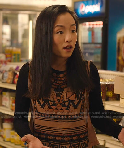 Janet's beige embroidered top on Kims Convenience