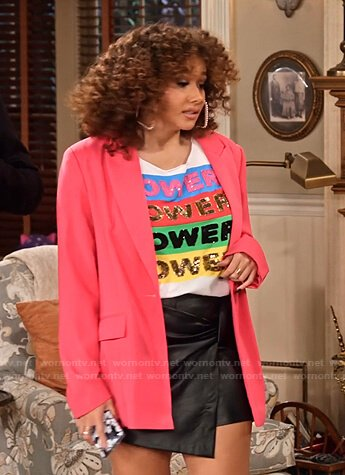 Jade's Power tee and pink blazer on Family Reunion