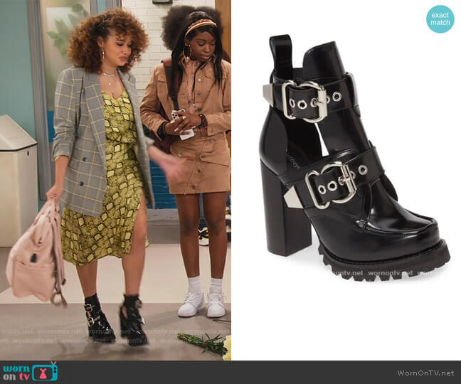 Craven Buckle Strap Bootie by Jeffrey Campbell worn by Jade (Talia Jackson) on Family Reunion