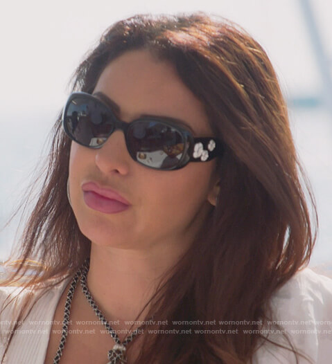 Jennifer black floral sunglasses on The Real Housewives of New Jersey