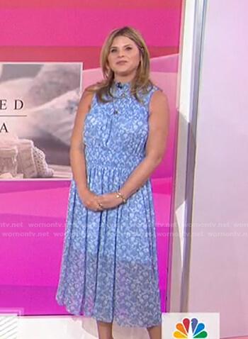 Jenna's blue floral sleeveless midi dress on Today