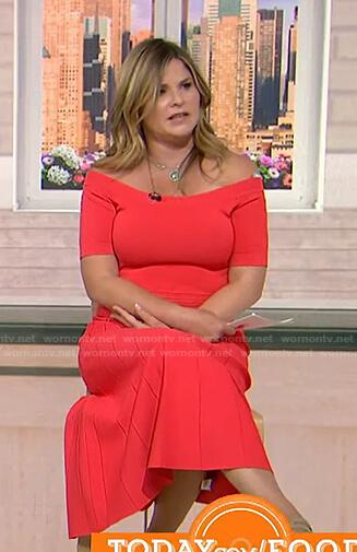 Jenna's coral off-shoulder midi dress on Today