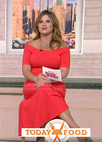 Jenna's coral off-shoulder midi dress on Today