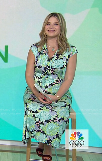 Jenna's black and green floral tie neck dress on Today