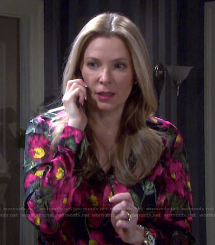 Jennifer's black floral blouse on Days of our Lives