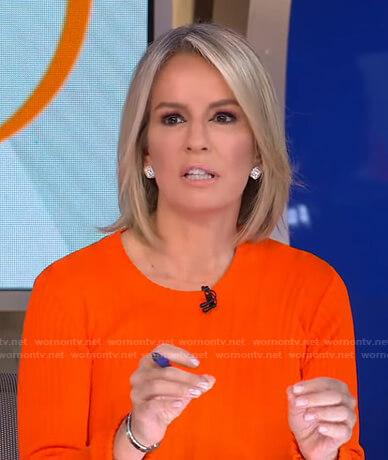 Dr. Jennifer Ashton's orange ribbed sweater on Good Morning America