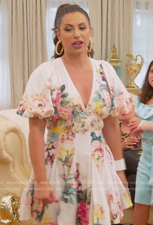 Jennifer white floral print puff sleeve dress on The Real Housewives of New Jersey