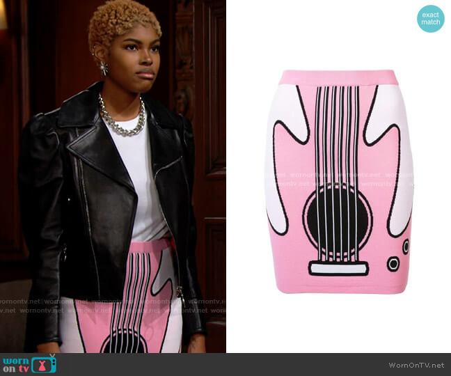 Jeremy Scott Guitar Jacquard Rayon Knit Mini Skirt worn by Paris Buckingham (Diamond White) on The Bold & the Beautiful