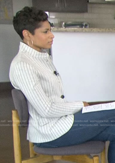 Jericka Duncan's white striped jacket on CBS This Morning