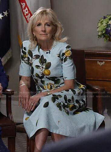 Jill Biden's blue lemon print belted dress on Today