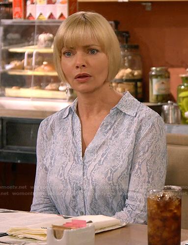 Jill's blue snake print blouse on Mom