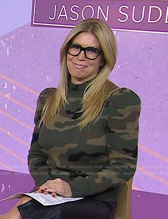 Jill's puff sleeve camo sweater on Today