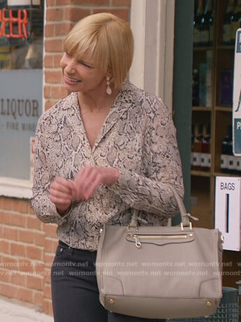 Jill's gray snakeskin print blouse on Mom