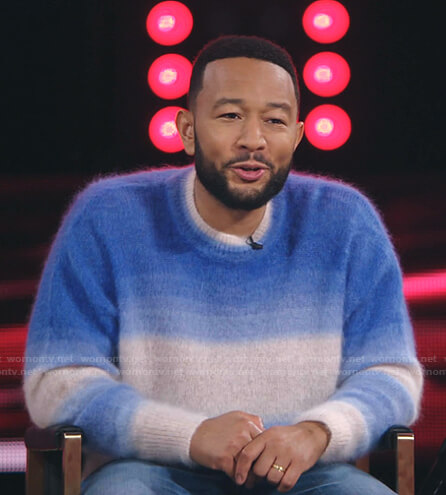 John Legend's blue ombre sweater on The Voice