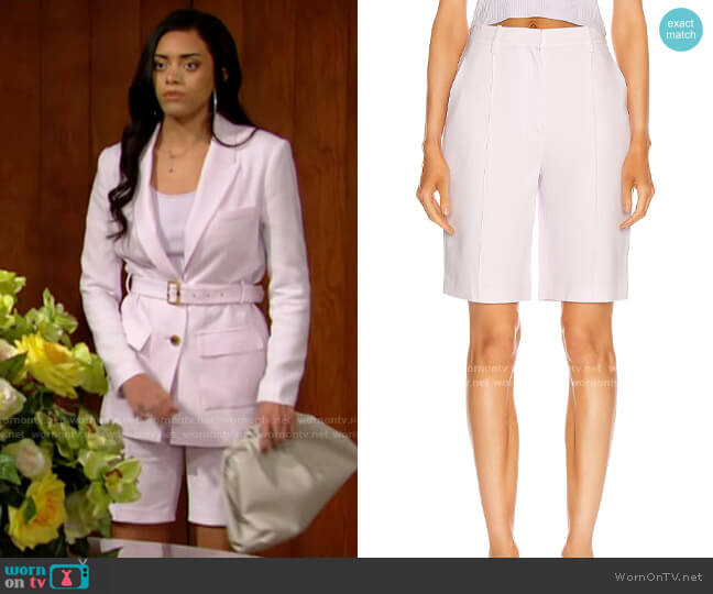 Jonathan Simkhai Sky Crepe Bermuda Short worn by Zoe (Kiara Barnes) on The Bold & the Beautiful
