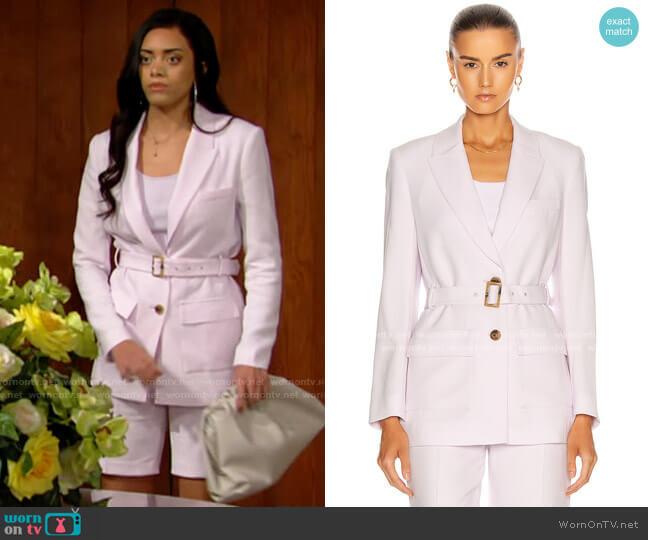 Jonathan Simkhai Astrid Crepe Safari Blazer worn by Zoe (Kiara Barnes) on The Bold & the Beautiful