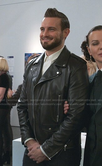 Josh's black leather moto jacket on Younger