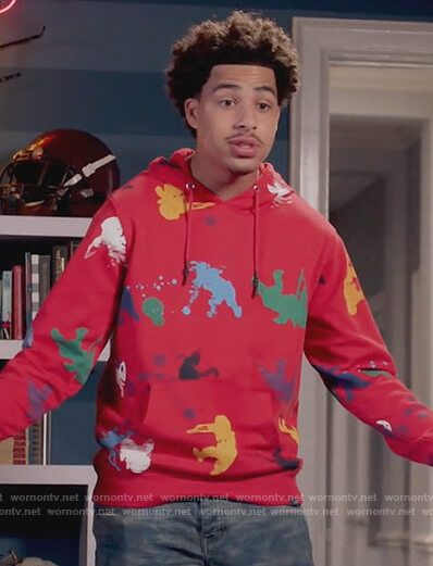 Junior's red splatter hoodie on Black-ish