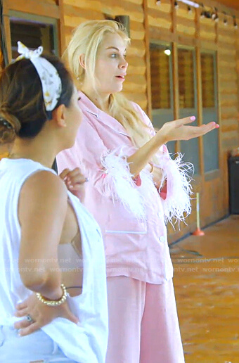 Kameron's pink feather-trim pajamas on The Real Housewives of Dallas