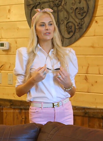 Kameron's white puff sleeve blouse and pink jeans on The Real Housewives of Dallas