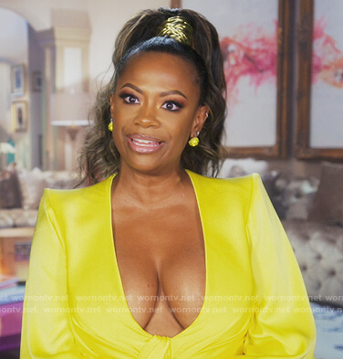 Kandi's yellow knotted v-neck dress on The Real Housewives of Atlanta