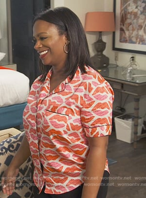 Kandi's lip print pajama top on The Real Housewives of Atlanta