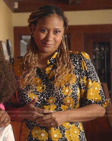 Karen Wilson's black and yellow floral shirtdress on 9-1-1