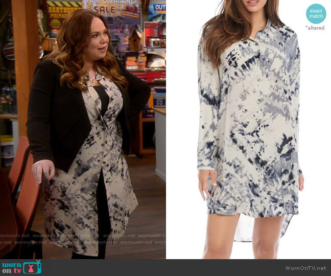 Karen Kane  Long Sleeve Tie Dye Shirtdress worn by Kristin Baxter (Amanda Fuller) on Last Man Standing