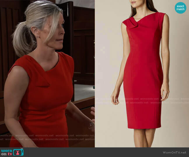 Fold-Detail Pencil Dress by Karen Millen worn by Carly Corinthos (Laura Wright) on General Hospital