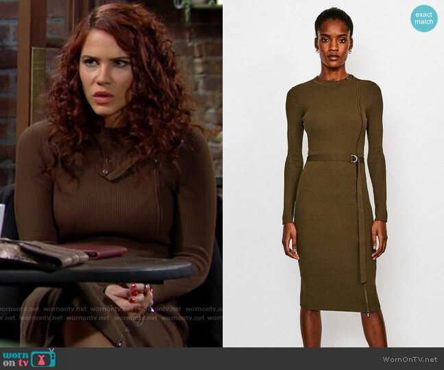 Karen Millen Zip Front Rib Knit Dress worn by Sally Spectra (Courtney Hope) on The Young & the Restless