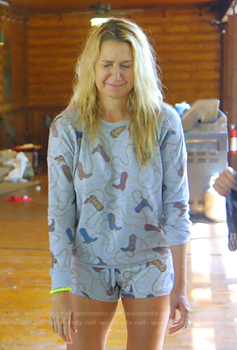 Kary's grey cowboy boots print sweatshirt and shorts on The Real Housewives of Dallas