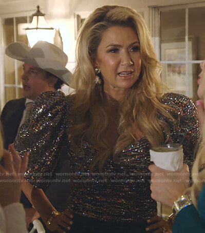 Kary's sequin ruched top on The Real Housewives of Dallas
