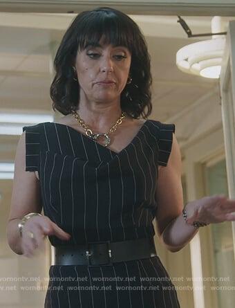 Kathleen's black pinstripe dress on Good Trouble
