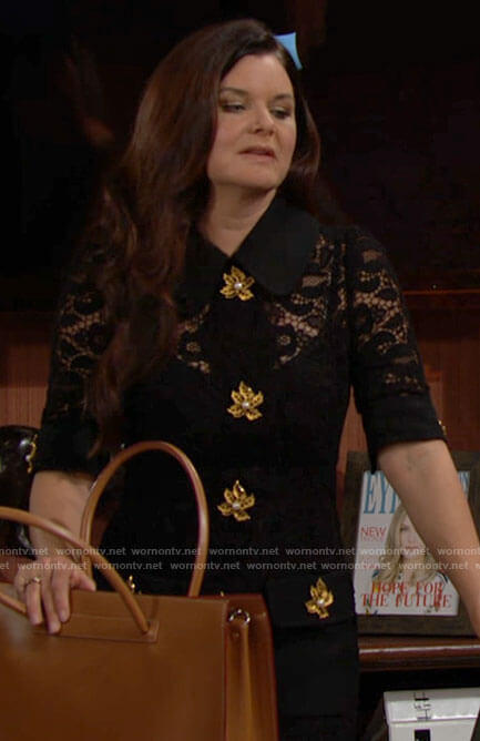 Katie's black lace dress with gold leaf buttons on The Bold and the Beautiful