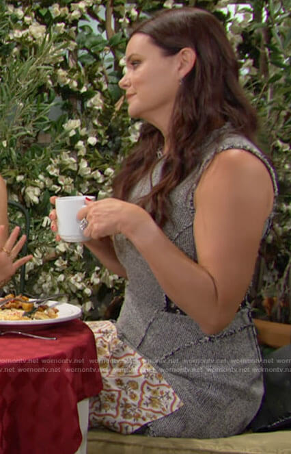 Katie's sleeveless tweed dress on The Bold and the Beautiful