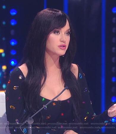 Katy's black gemstone dress on American Idol