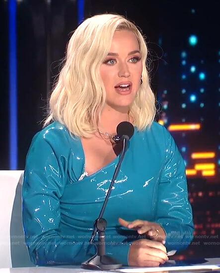 Katy's blue asymmetric neck dress on American Idol