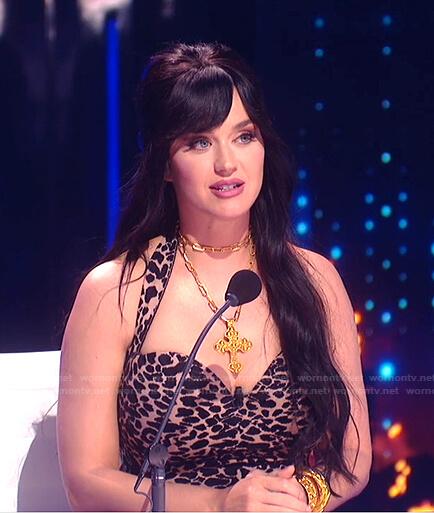 Katy's leopard halterneck dress on American Idol