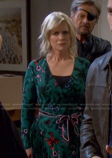 Kayla's green floral wrap dress on Days of our Lives