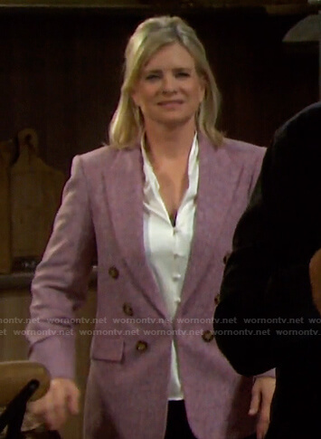 Kayla's pink double breasted blazer on Days of our Lives