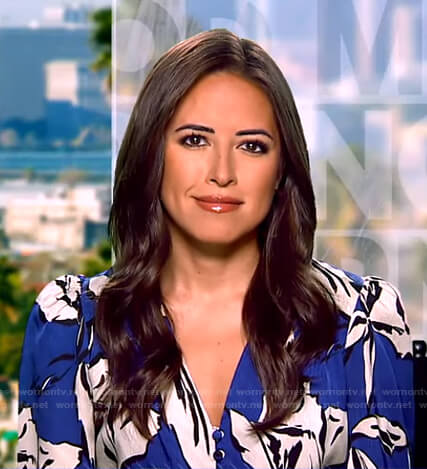 Kaylee Hartung's blue floral blouse on Good Morning America