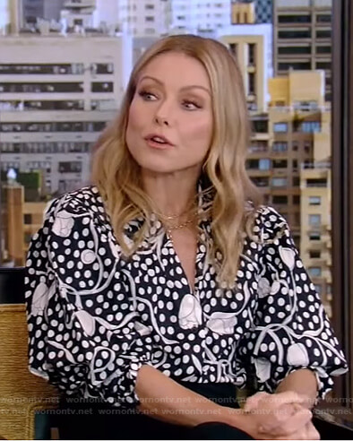 Kelly's black floral and polka dot top on Live with Kelly and Ryan