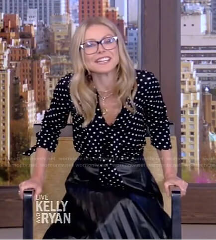 Kelly's black polka dot blouse and pleated skirt on Live with Kelly and Ryan