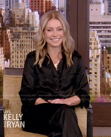 Kelly's black satin jumpsuit on Live with Kelly and Ryan