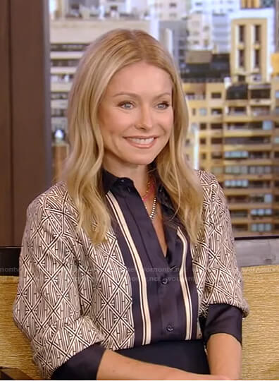 Kelly's printed blouse with center stripe on Live with Kelly and Ryan