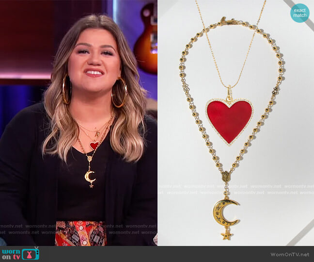 The Avril Necklace and Cosmo Necklace by Vanessa Mooney worn by Kelly Clarkson  on The Kelly Clarkson Show