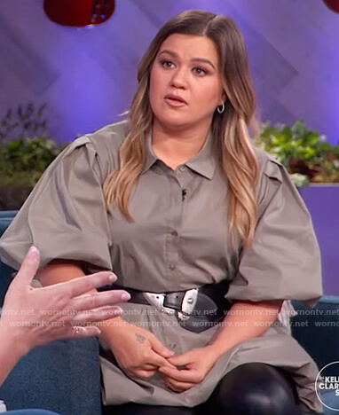 Kelly's gray puff sleeve mini dress on The Kelly Clarkson Show